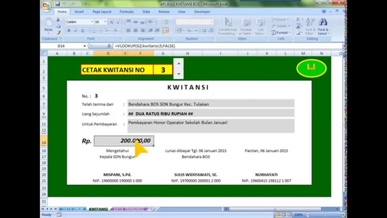 Aplikasi Kwitansi Bos Format Microsoft Excel