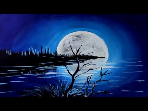 How To Paint Moonlight On Water | Moon Acrylic Painting