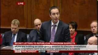 Secret letters to republican terrorist suspects NI Assembley. Stormont Public Debate