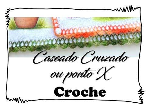Caseado Croche  para fraldas - Ponto X .