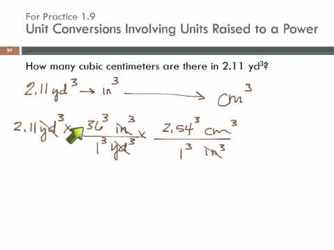 Unit Conversions Involving Units Raised to a Power: cubic yards to cubic centimeters