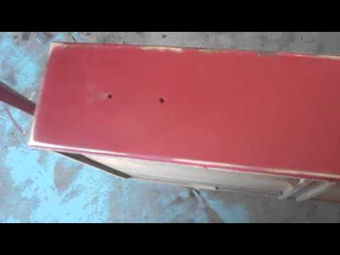 Distressing Painted Furniture with Stain