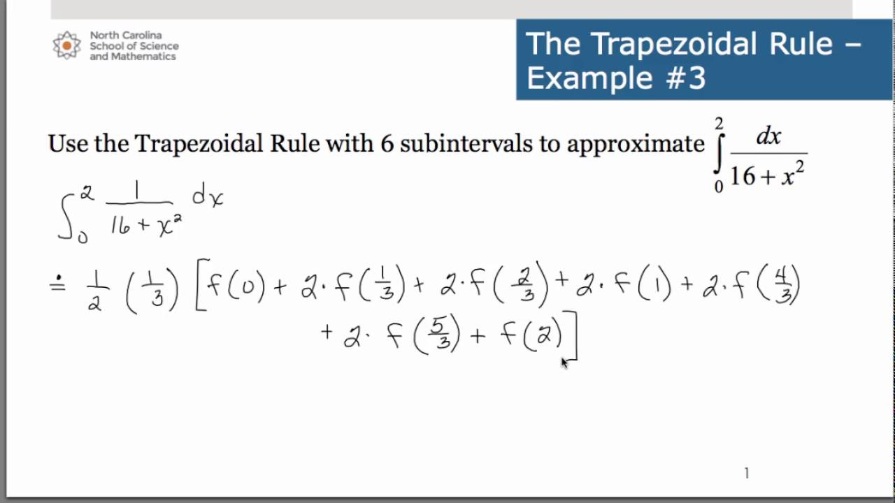 Trapezoidal rule example problems.