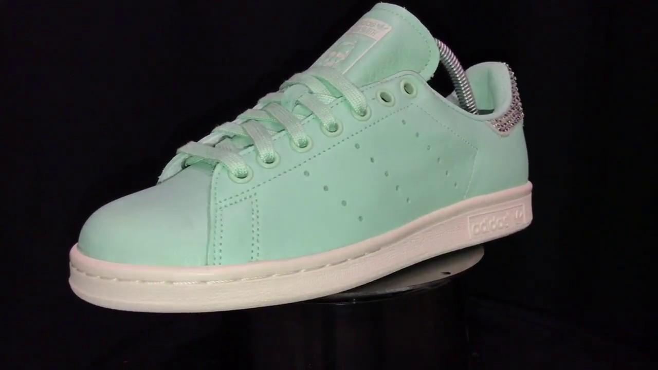 ed9a5f64eafd Handmade Custom Adidas Stan Smith Frozen Green Swarovski Crystal by Mark  Leone ®