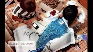 Hướng dẫn làm tranh Gắn đá Dễ dàng - Nhanh nhất -  Tranh gắn Đá Hàn quốc