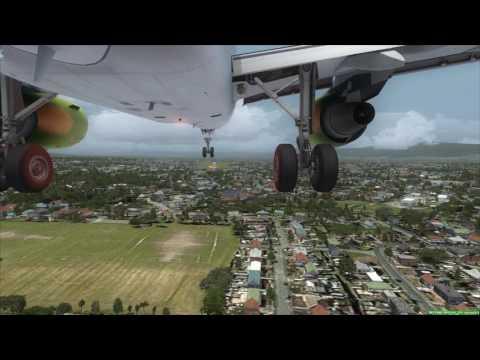 AirAustralia A320 xwind landing at Banda Aceh [GEAR CAM] FSX