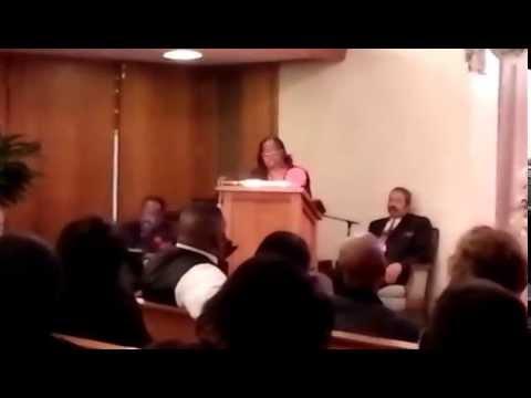 Doris Chandler preaching Tommy Williams eulogy