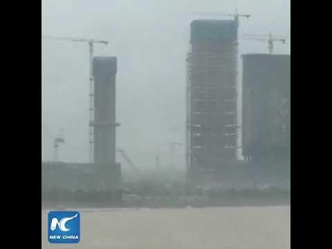 Typhoon Hato lashing China's coastal region after making landfall
