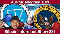 #881 Telegram wirft Handtuch, Bitwala Interest Bitcoin Ertragskonto & Bitcoin SV 300 Megabyte Block