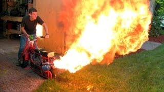 Dirt/Doodle Bug Mini Bike Custom Flamethrower Exhaust - Testing New Spray Bottle (1080p)