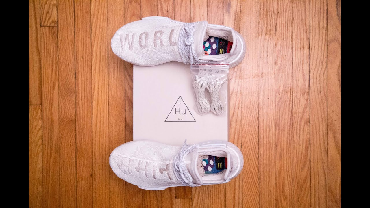 new product d5f16 6f733 The CLEANEST Hu NMD || Adidas Human Race Holi NMD Blank Canvas by Pharrell  Williams Review