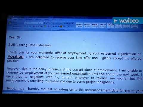 How To Write A Request Letter For Joining Date Extension