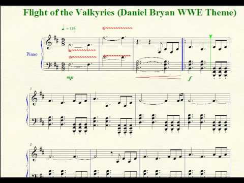 "Wrestling Piano Theme Sheet Music - ""Flight Of The Valkyries"