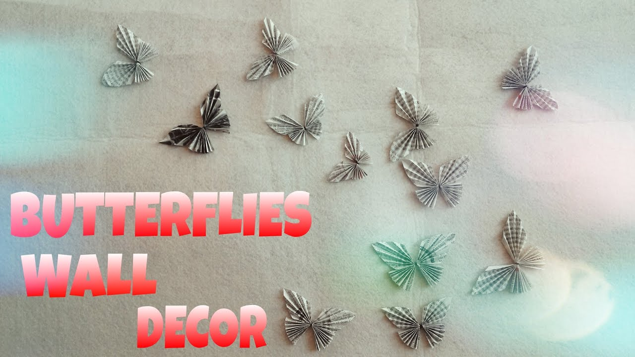 How To Make Wall Decor With Paper : Diy room decor paper butterflies wall very easy