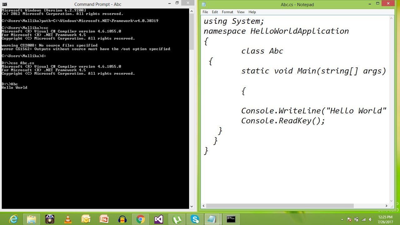 How to run c# code using notepad (text editor) in command prompt