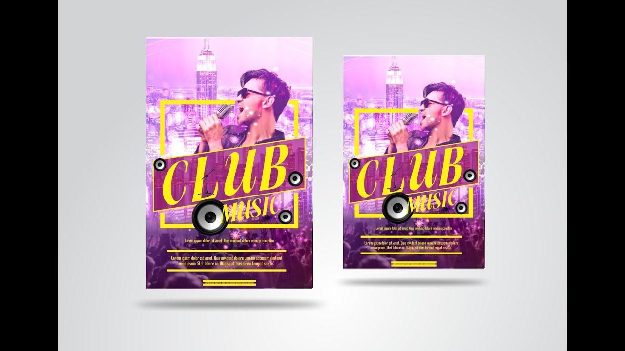 Coreldraw x7- Tutorial club Music Flyer Design by AS