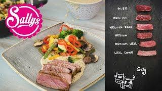 Steak mit Senfsoße und bunter Gemüsepfanne