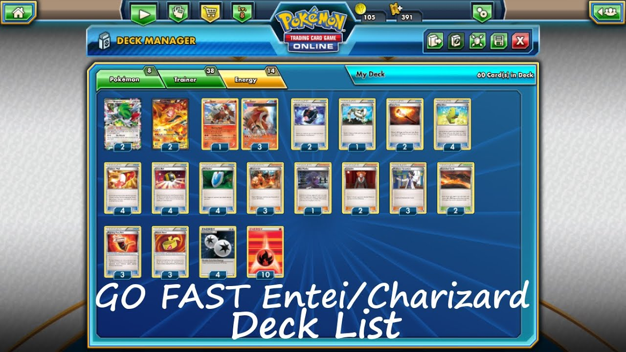 Pokemon Tcg Deck List Go Fast Entei Charizard Ex Youtube