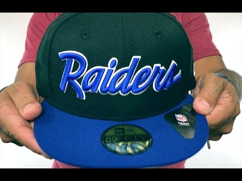 8a672a901d1 Raiders  NFL TEAM-SCRIPT  Black-Royal Fitted Hat by New Era - YouTube