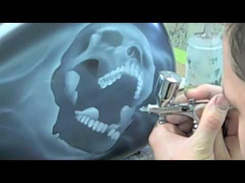 Airbrushing A Skull - YouTube