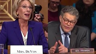 Repeat youtube video Al Franken Embarrasses Trump's Education Pick