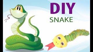 Как сделать  змея из бумаги Easy craft: How to make paper snakes