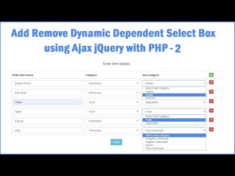 jQuery Add or Remove Dynamic Dependent Select Box using  PHP Ajax - 2 thumbnail