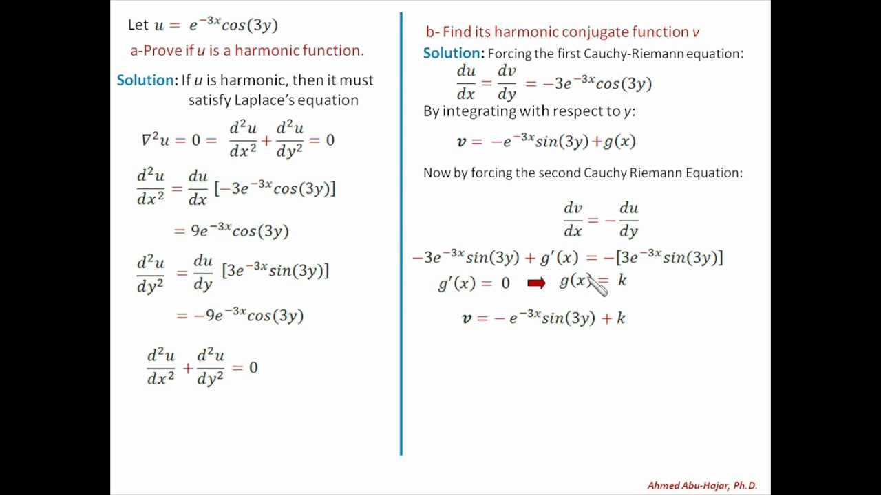 Complex Variables Math: Example of a Harmonic Function - YouTube
