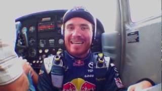 NASCAR driver Brian Vickers sky dives into Daytona speedway