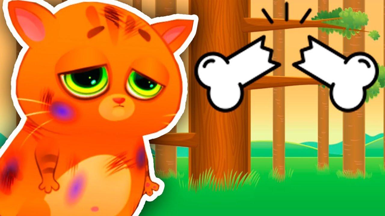 КОТЕНОК БУБУ #53 у котика перелом ребер кости мультик для детей My Virtual cat Bob Bubbu #ПУРУМЧАТА
