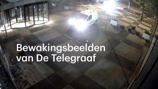 Bewakingsbeeld van man die kantoor Telegraaf inrijdt - RTL NIEUWS
