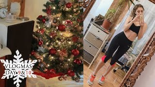 VLOGMAS DAY 9 & 10 | My home workout routine & Cooking