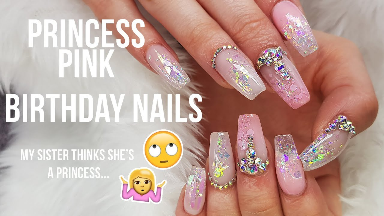 Acrylic Nals Pink Bling Applying Pre Pinched Stiletto Tips From