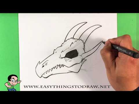 How to Draw a dragon Skull - Step by Step for Beginners - Easy Drawings - Simple Drawings