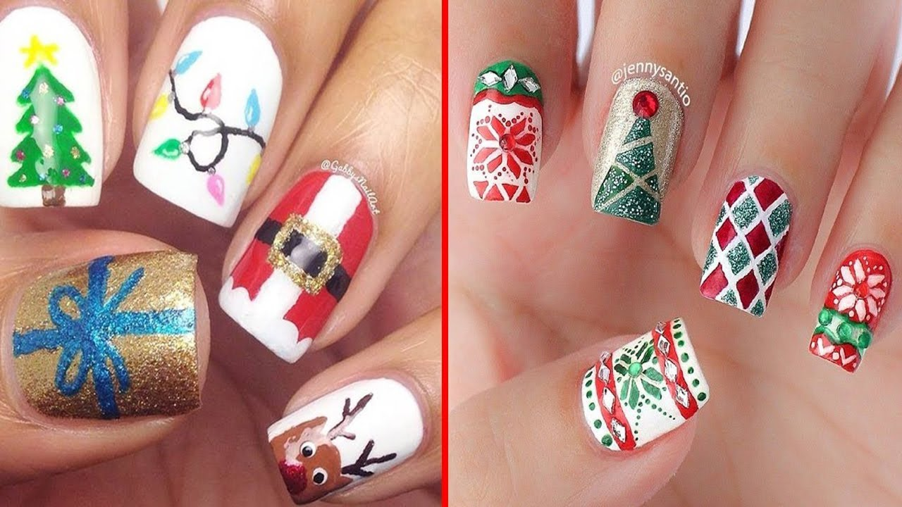 beautiful christmas nails art design
