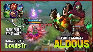 One Punch Man 21 Kill with Tank Build?! LouisTr Top 1 Global Aldous ~ Mobile Legends