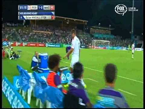 Dylan Macallister Red Card Perth Glory Vs Melbourne Heart