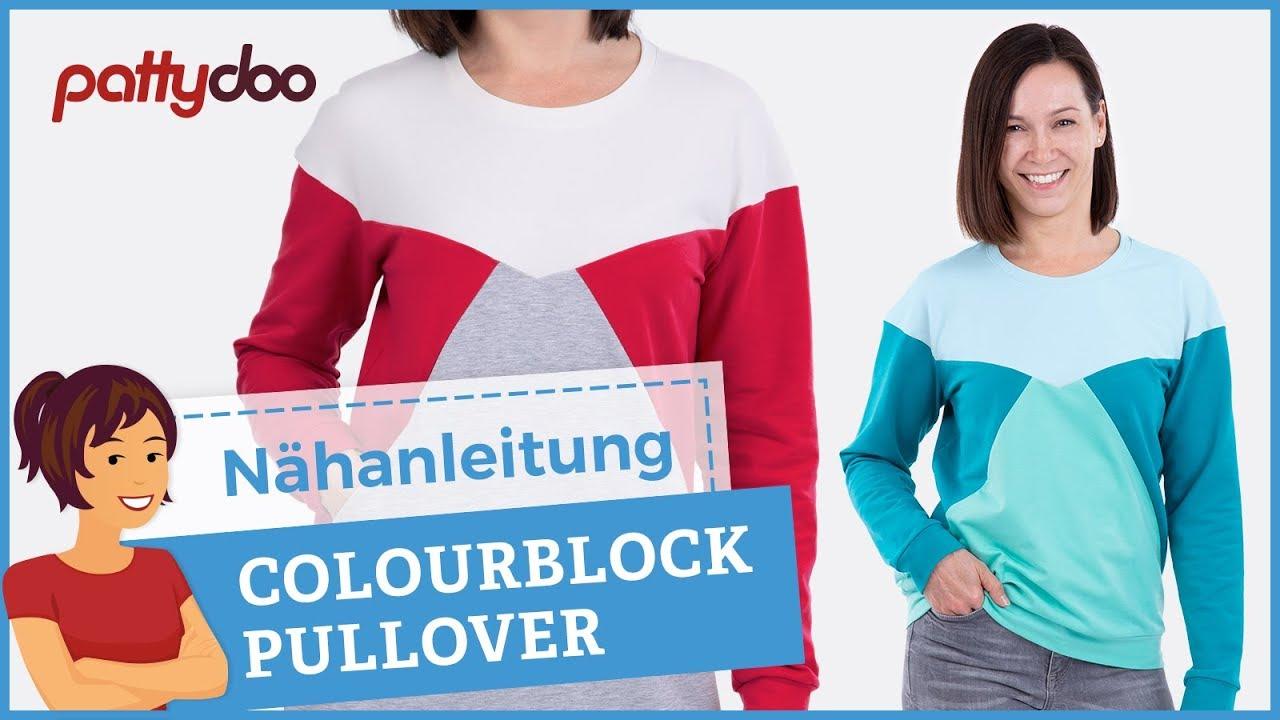 anleitung pullover sweatshirt mit colourblocking n hen youtube. Black Bedroom Furniture Sets. Home Design Ideas