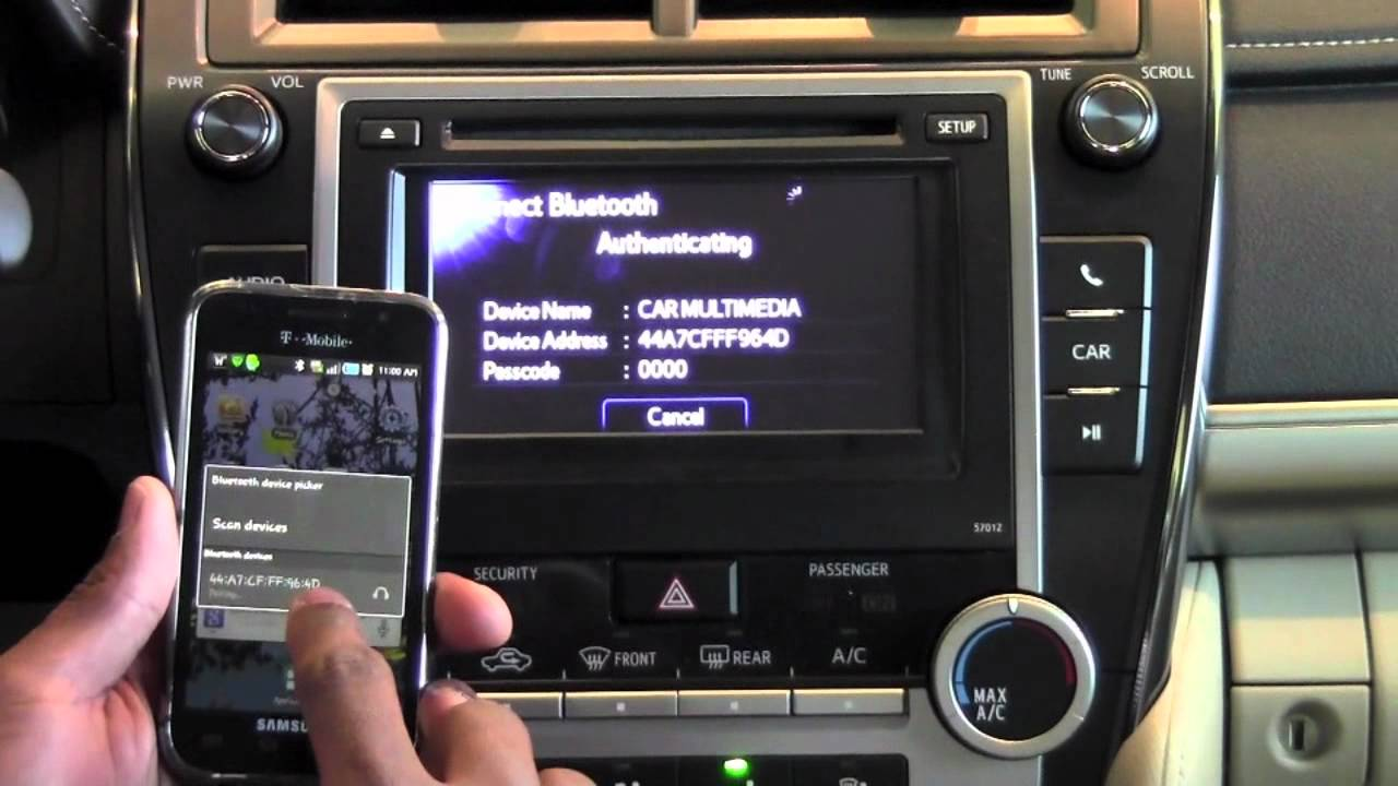 2012 Toyota Camry Bluetooth Audio Player Connection