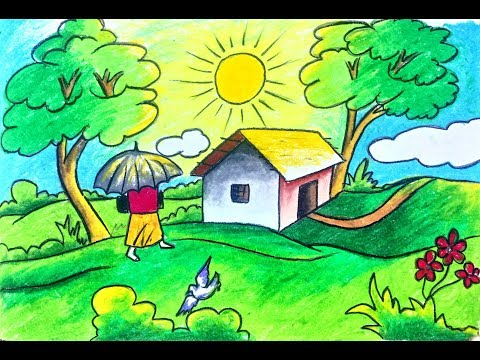 How To Draw Scenery Landscape Of Summer Season For Kids Step By