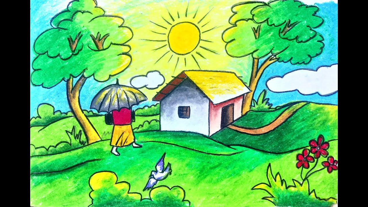 How To Draw Scenery Landscape Of Summer Season For Kids Step By Step