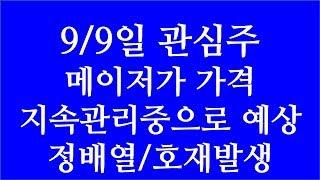 [주식투자]9/9일 관심주(메이저가 가격 지속관리중으로…