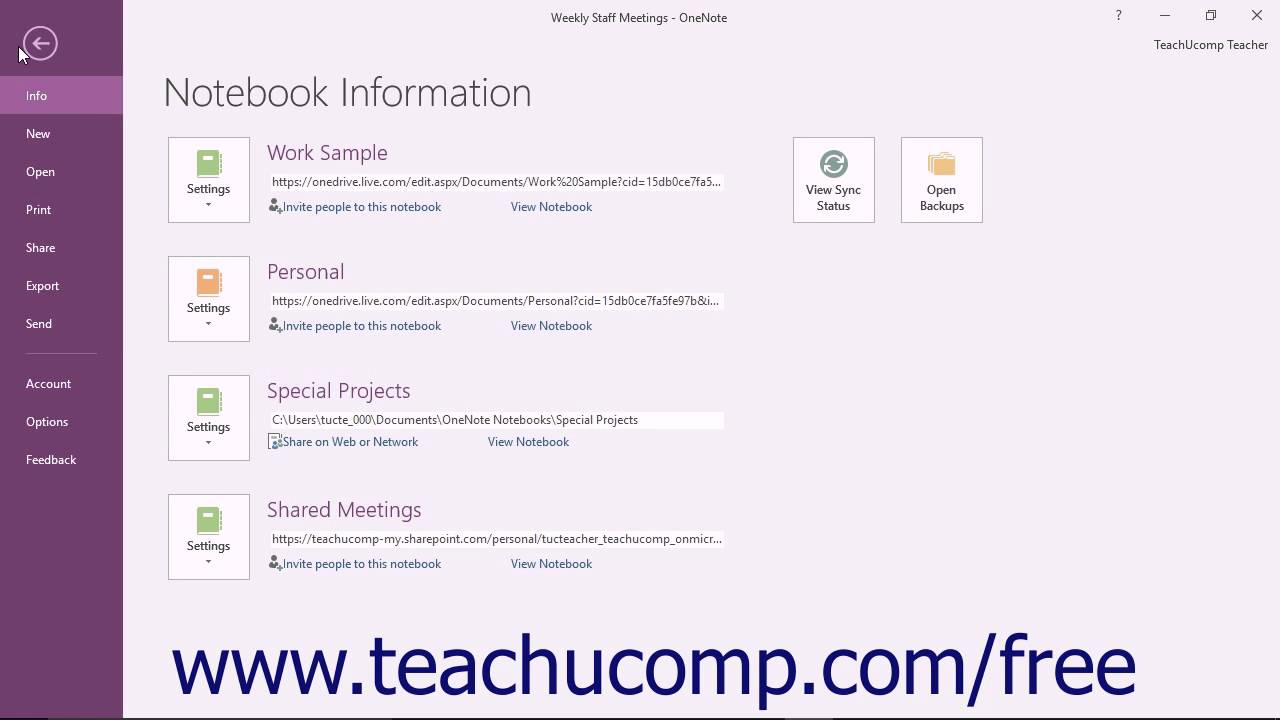 OneNote 2016 Tutorial Creating a Shared Notebook and Inviting Others to  Share Microsoft Training