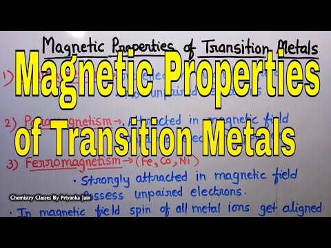 Magnetic Properties of transition elements [ spin & orbital contribution to magnetic moment ]