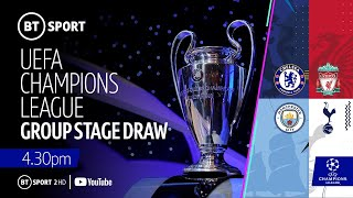 UEFA Champions League 2019/20 group stage draw featuring Liverpool, Spurs, Man City, and Chelsea
