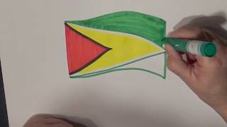 Learn geography for kids How to draw a flag Guyana