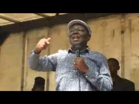 Tsvangirai addresses crowds as Parliament sits to impeach Mugabe