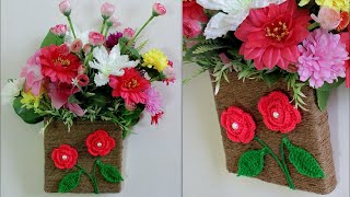 Wall Flower Vase Making at Home || DIY Room Decor Idea 2018 || Handmade Things || Best out of Waste