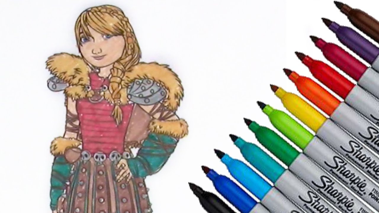 How to train your dragon Astrid Dreamworks Animation Coloring page 2017 New  HD Video for Kids