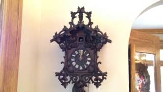 Nicely Carved Antique Cuckoo Clock With Wood Plate Movement